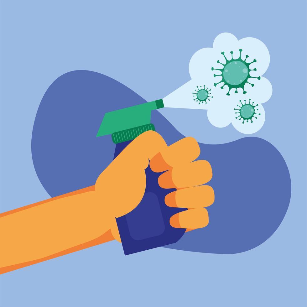 mano che tiene il flacone spray disinfettante e disegno vettoriale virus covid 19