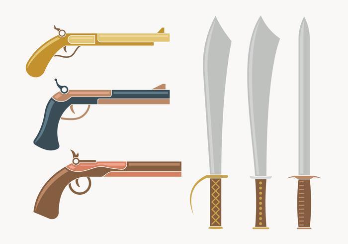 Collezione di armi moschettiere vettore