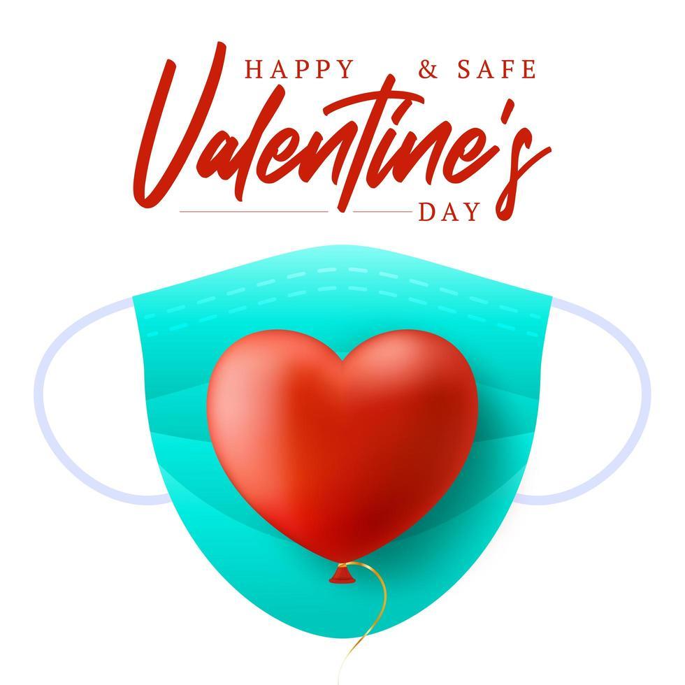simpatico cuore rosso realistico con maschera medica blu vettore
