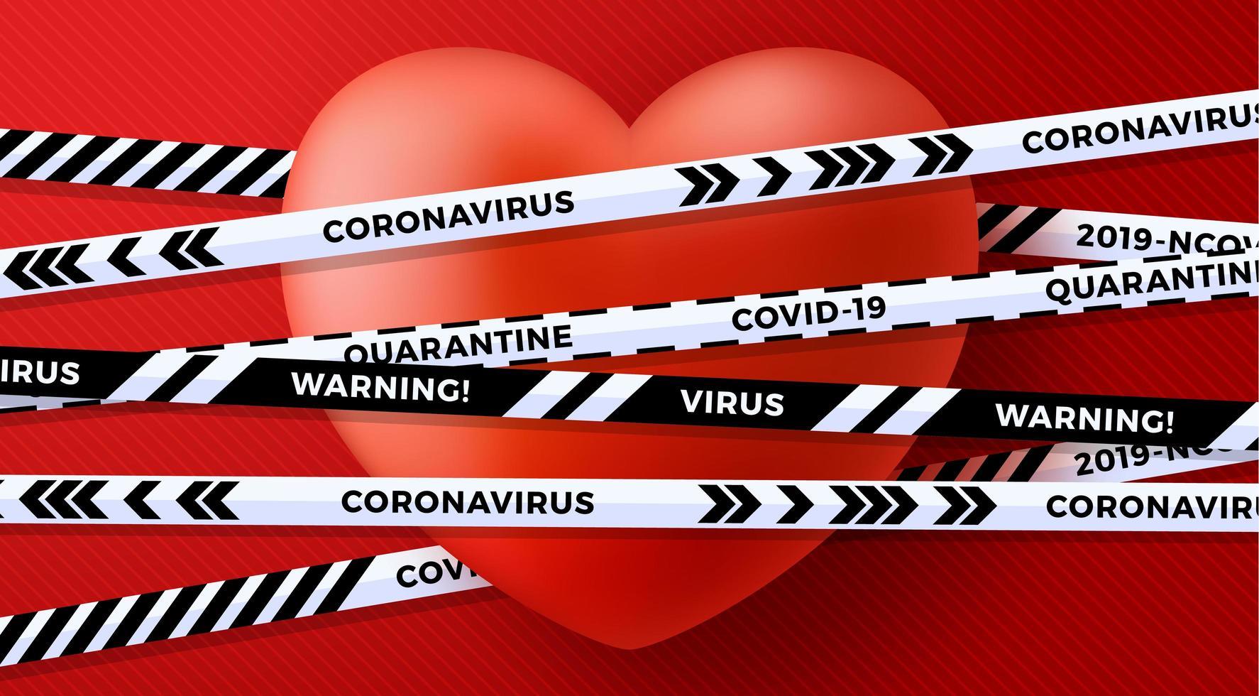 San Valentino rosso amore cuore e pericolo di rischio biologico in quarantena vettore