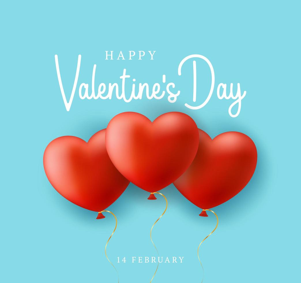 sfondo blu di vendita di san valentino con cuore di palloncini vettore