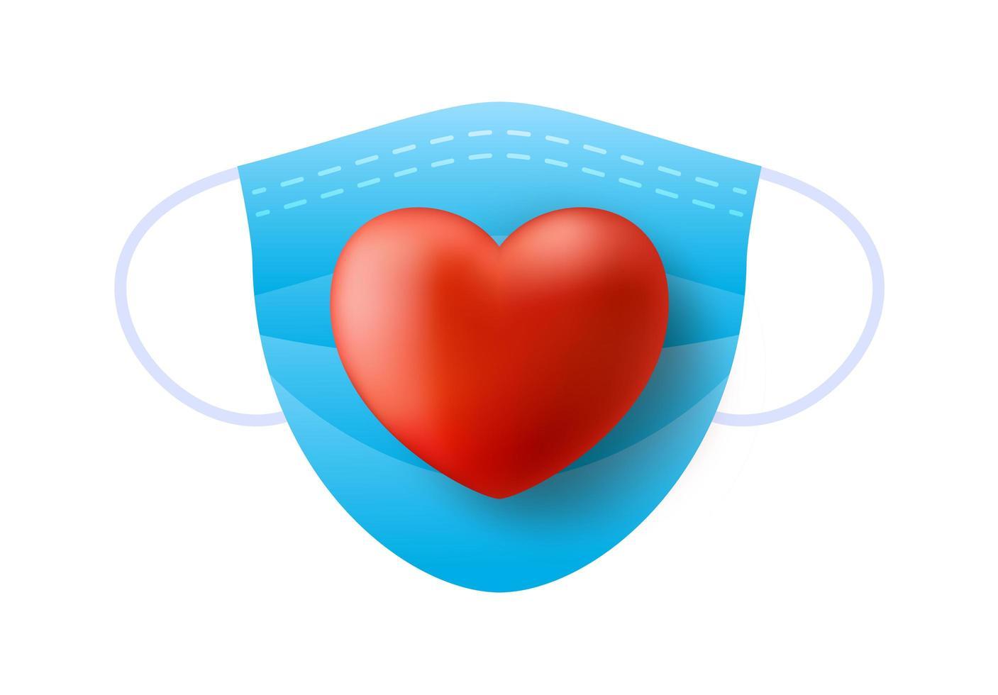 simpatico cuore rosso realistico sulla maschera medica blu vettore