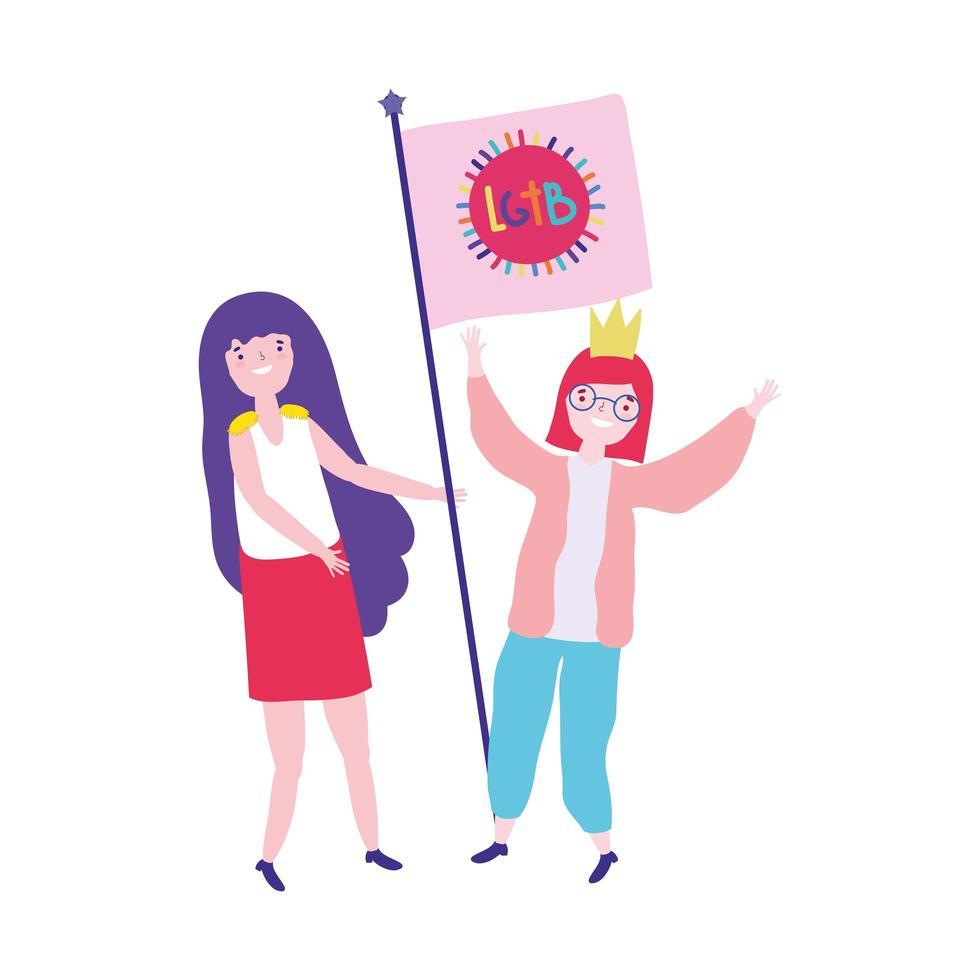 comunità lgbt di parata dell'orgoglio, donne con cartone animato di riunione dei diritti della bandiera vettore