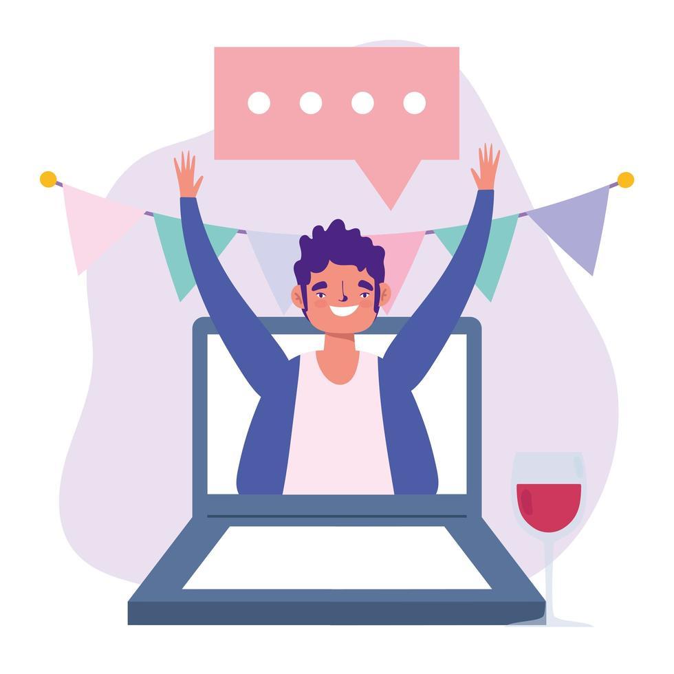 festa online, compleanno o incontro con gli amici, uomo con bicchiere di vino nella celebrazione del laptop vettore