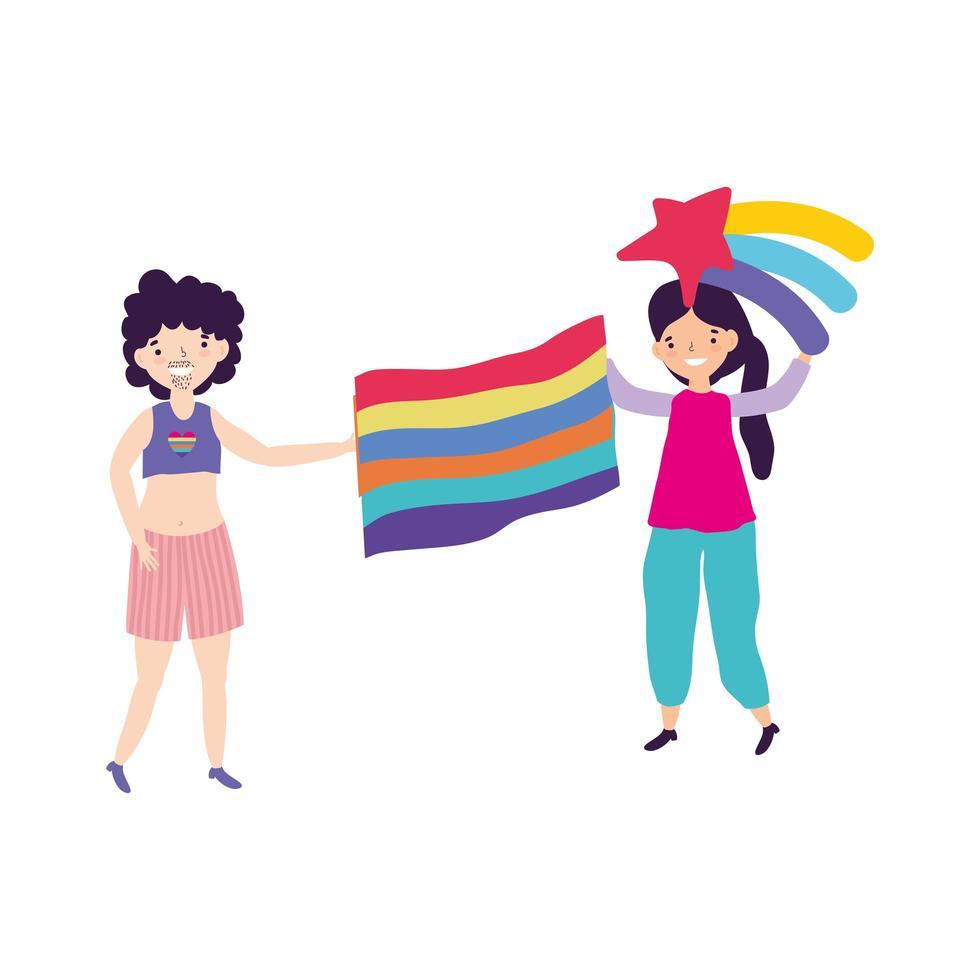 comunità lgbt di parata dell'orgoglio, giovane coppia con arcobaleno e bandiera vettore