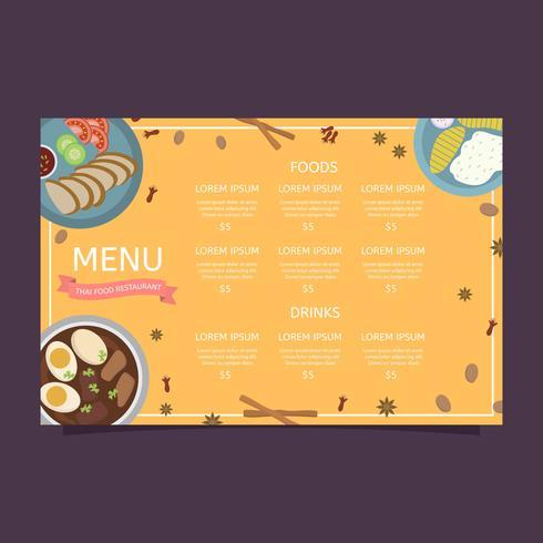 Modello di vettore del menu dell'alimento della Tailandia