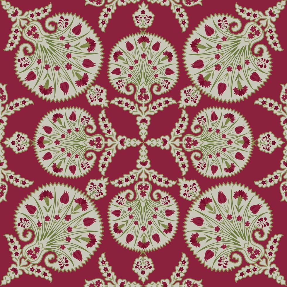 motivo floreale in tessuto senza soluzione di continuità. fiorire piastrellato sfondo etnico orientale. ornamento arabo con fantastici fiori e foglie. vettore