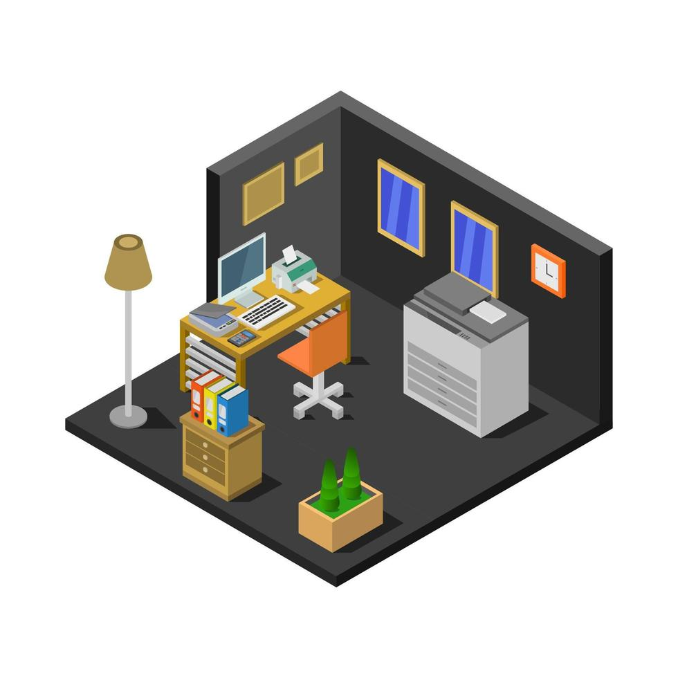 stanza ufficio isometrica nel vettore su sfondo bianco