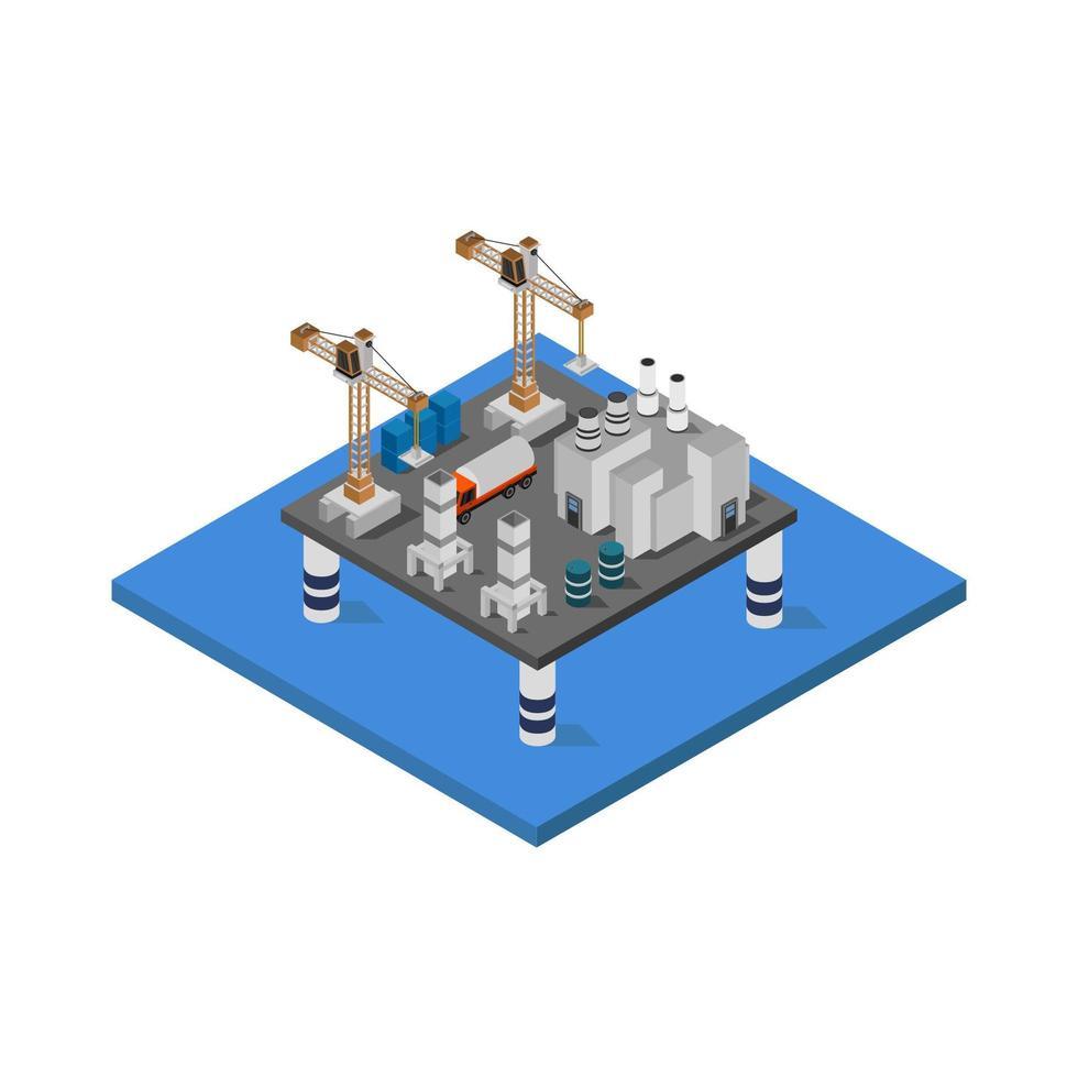 Torre della petroliera isometrica nel vettore su priorità bassa bianca