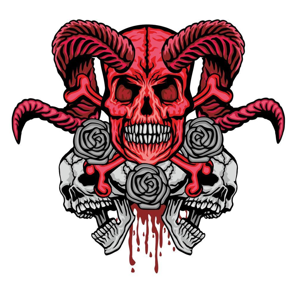 teschio grunge con rose vettore