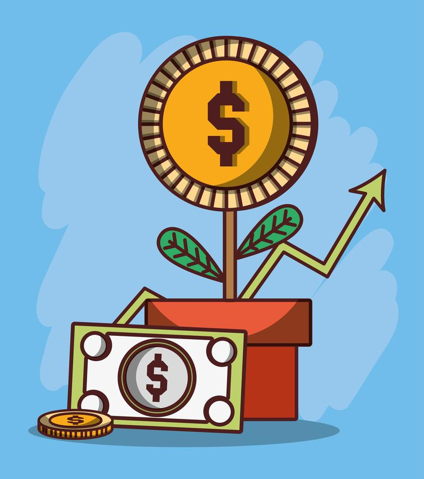 denaro affari pianta in vaso moneta banconota finanziaria vettore