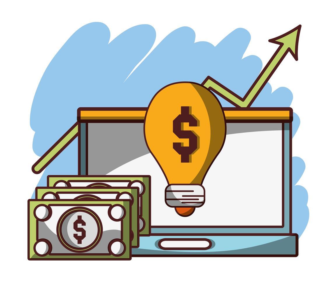 soldi affari finanziari laptop banconote soluzione di profitto vettore