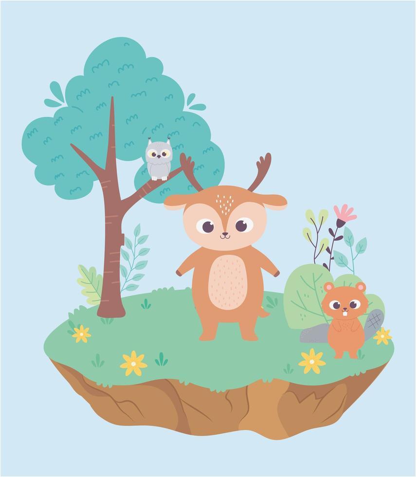 carino piccolo cervo e castoro sull'erba con fiori e albero cartone animato vettore