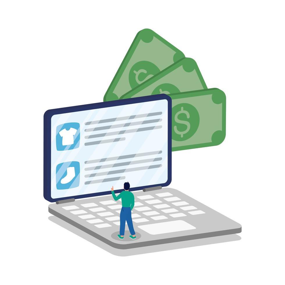 commercio elettronico online con uomo che utilizza laptop e fatture vettore