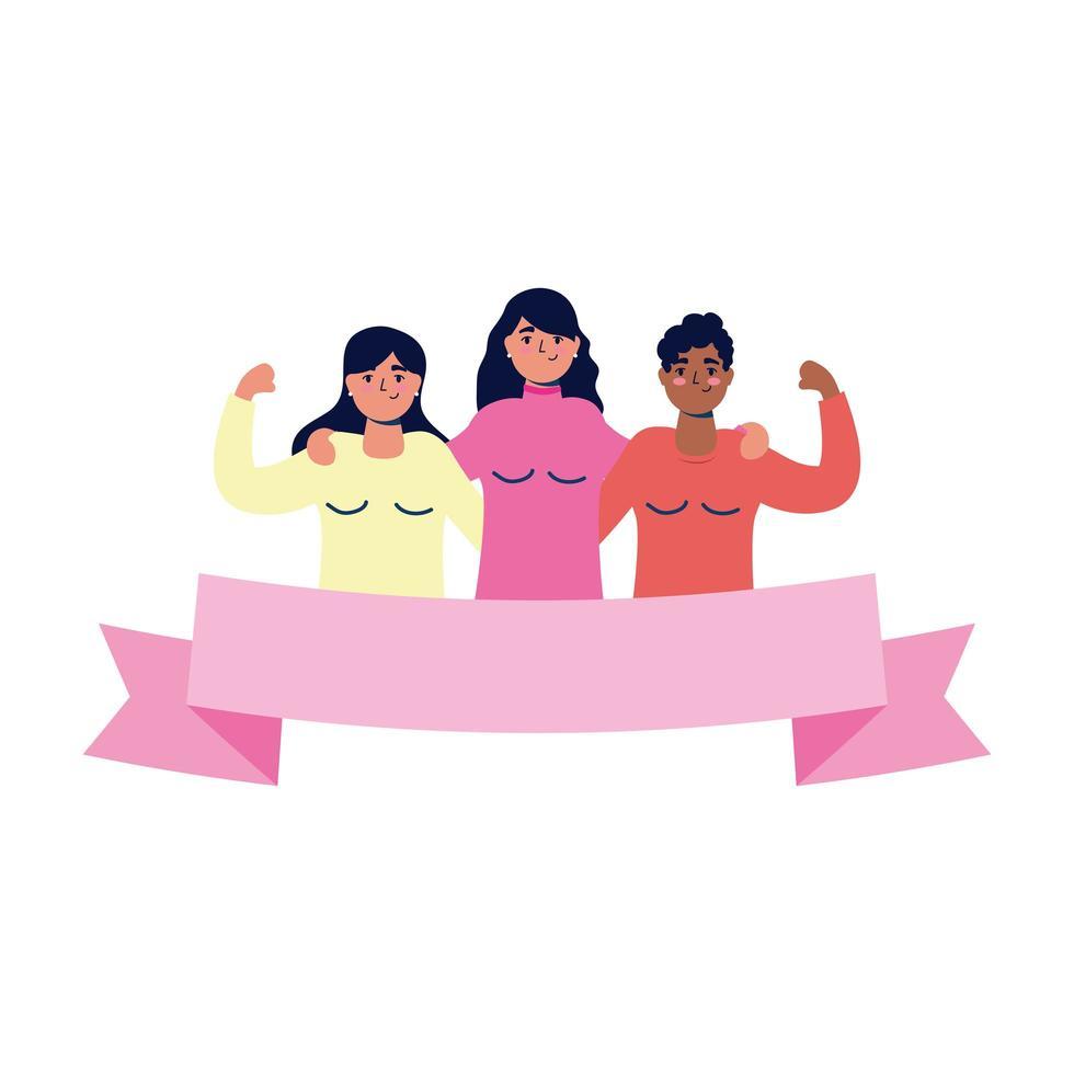 gruppo di personaggi di giovani donne interrazziali vettore