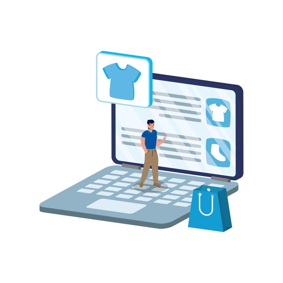 commercio elettronico online con uomo che utilizza laptop e borsa della spesa vettore