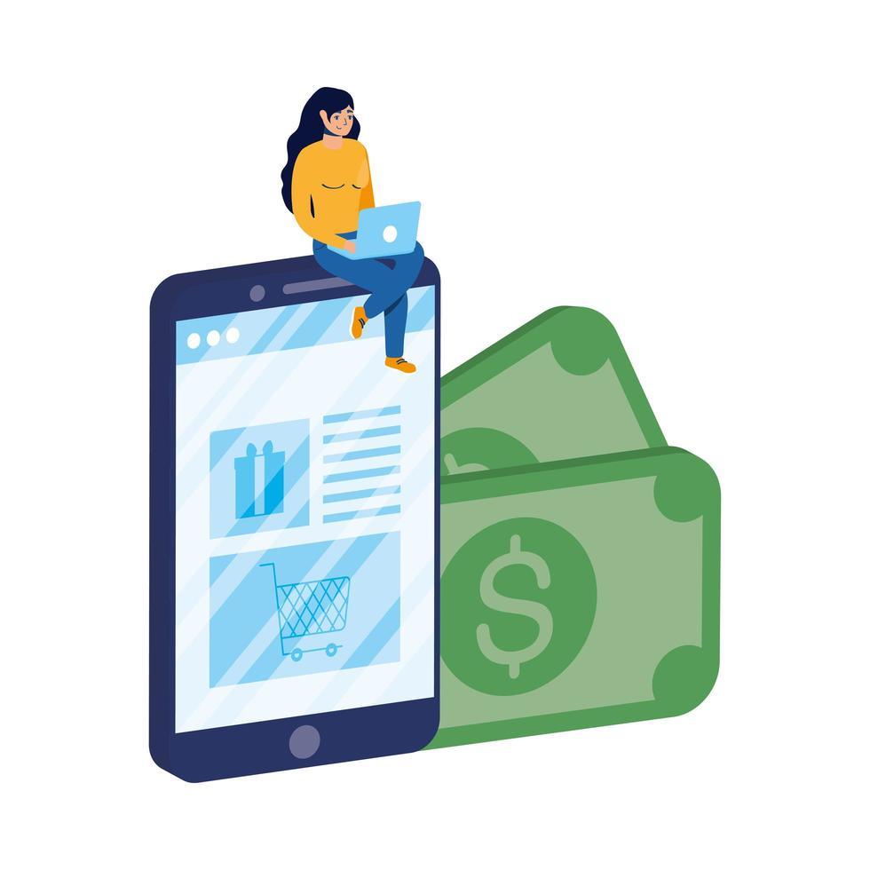 e-commerce online di affari con la donna che utilizza laptop e smartphone vettore