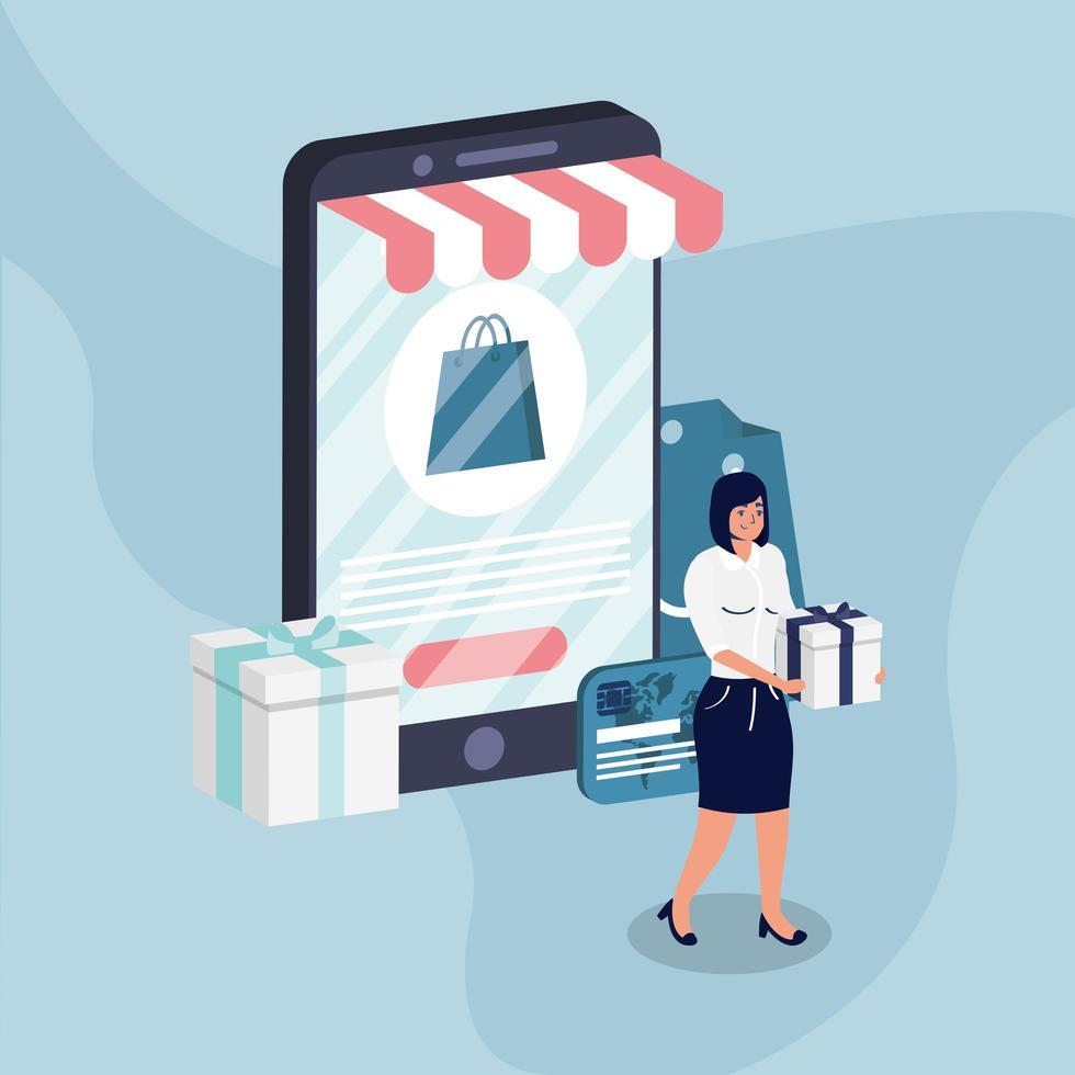 shopping e-commerce online con acquisto donna e smartphone vettore