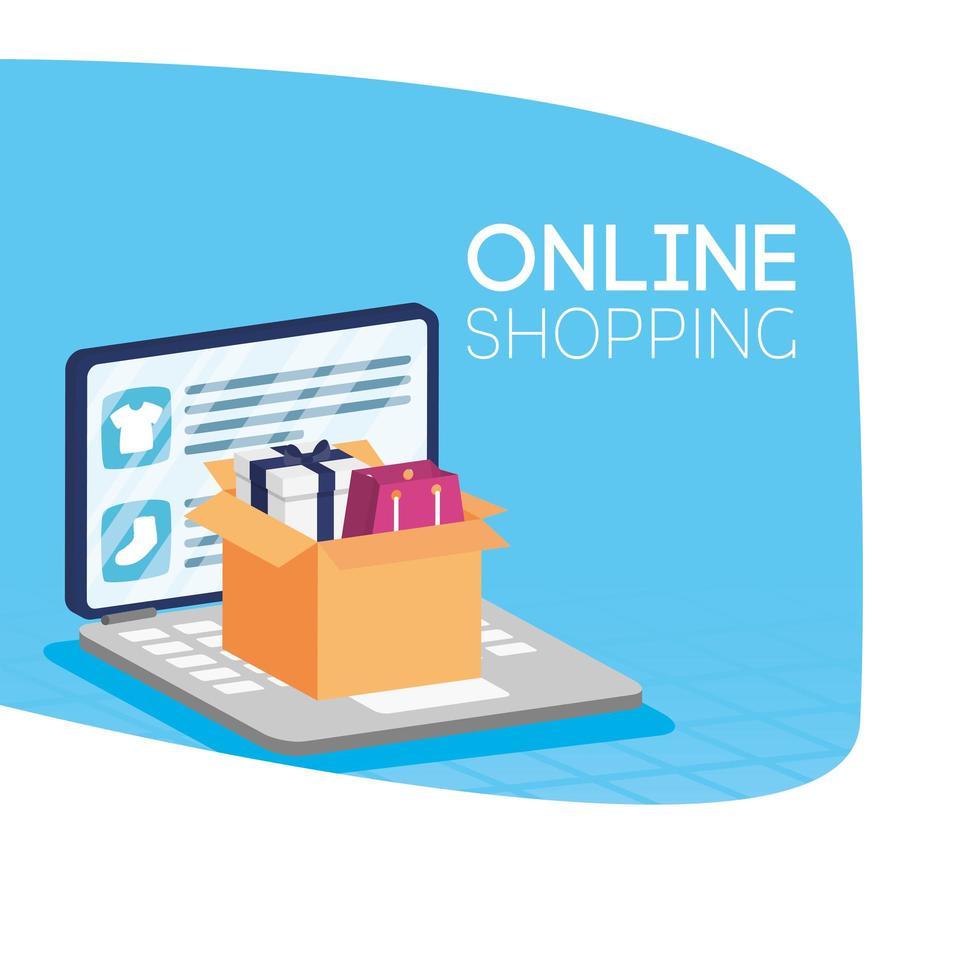 shopping online ecommerce con laptop e imballaggi in scatola vettore