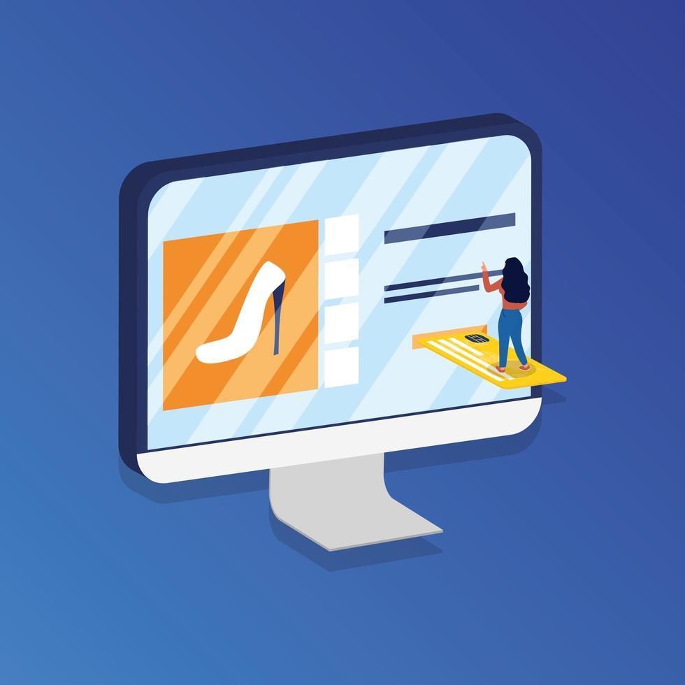 shopping ecommerce online con donna in desktop e carta di credito vettore