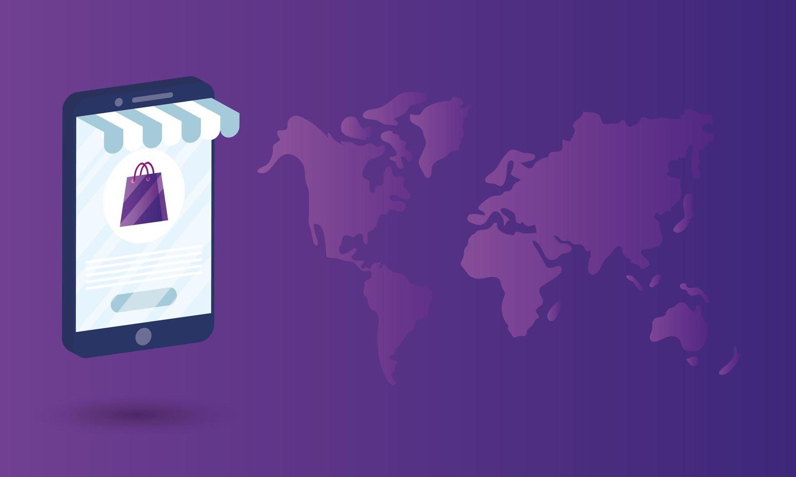 shopping online ecommerce con sacchetto di carta in smartphone e mappe terrestri vettore