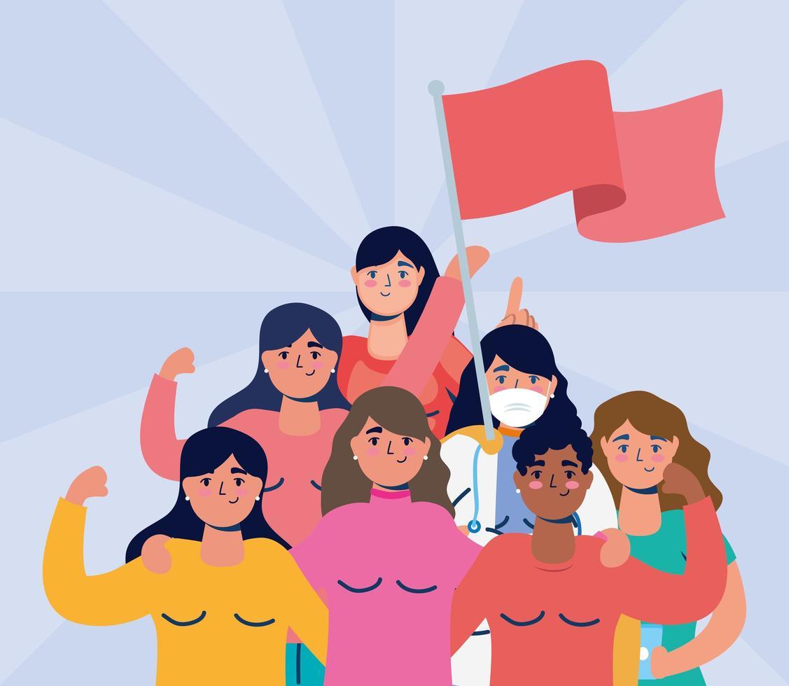 donne interrazziali che protestano con le bandiere vettore