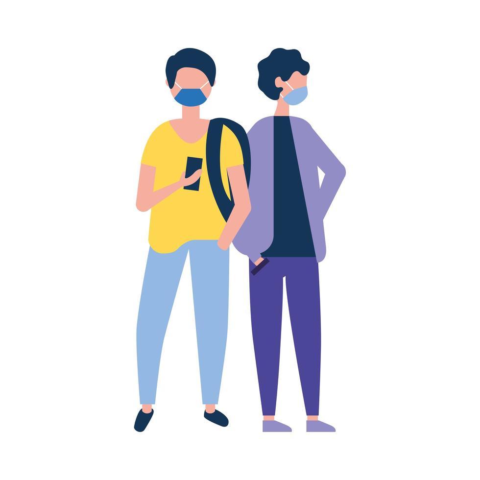 uomini con borsa di maschere mediche e disegno vettoriale di smartphone