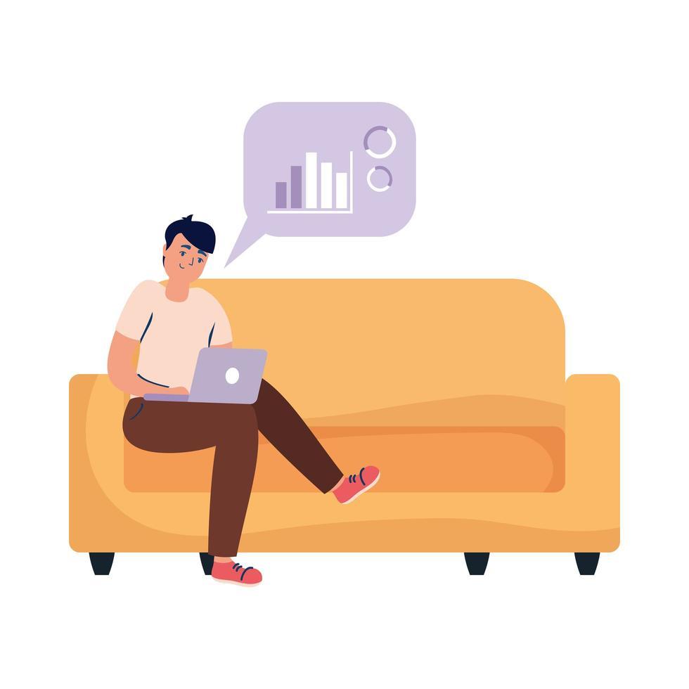 uomo con il computer portatile sul disegno vettoriale divano