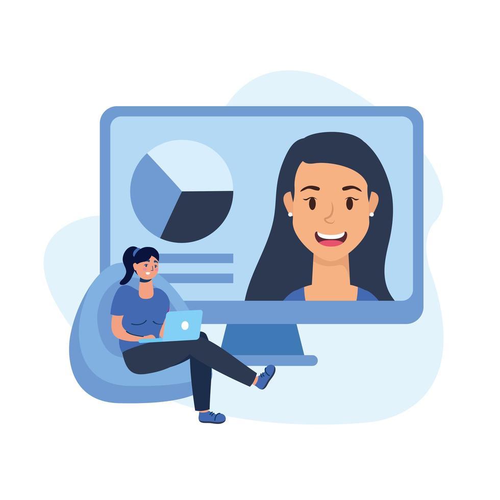 donna con il portatile sul soffio e disegno vettoriale del computer