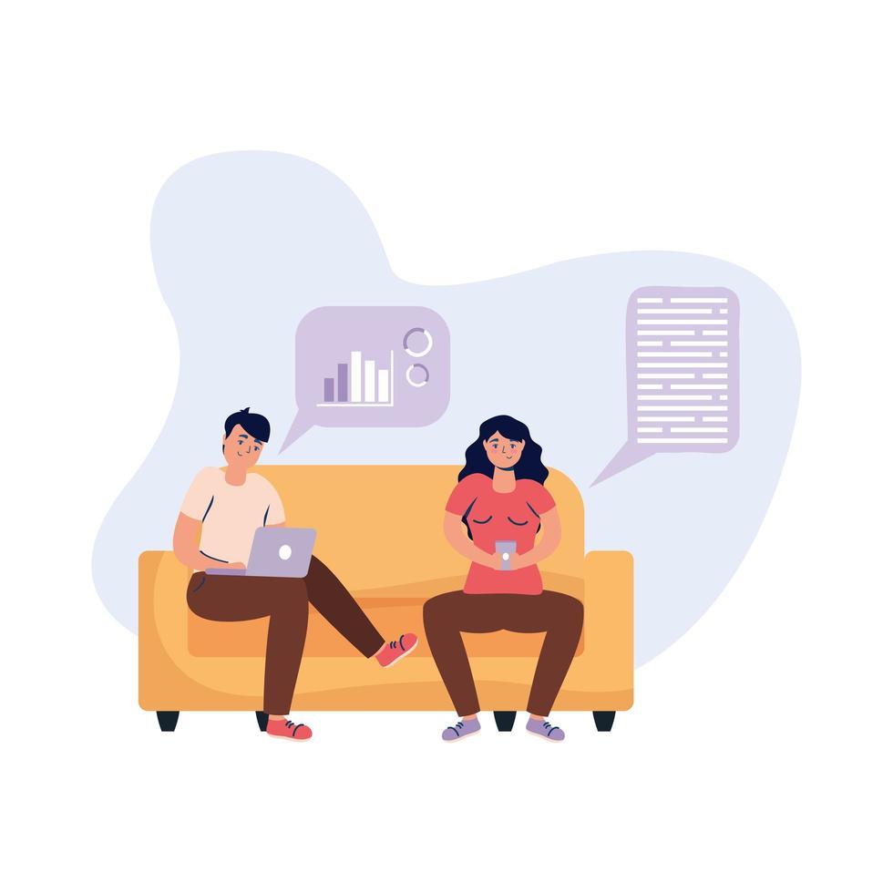 uomo e donna con laptop e smartphone sul disegno vettoriale divano