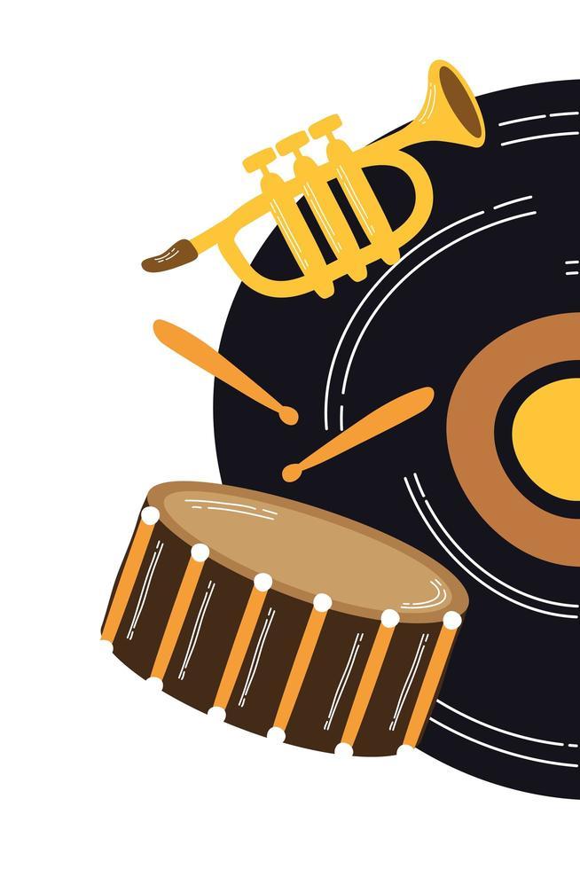 disco musicale in vinile con strumenti vettore