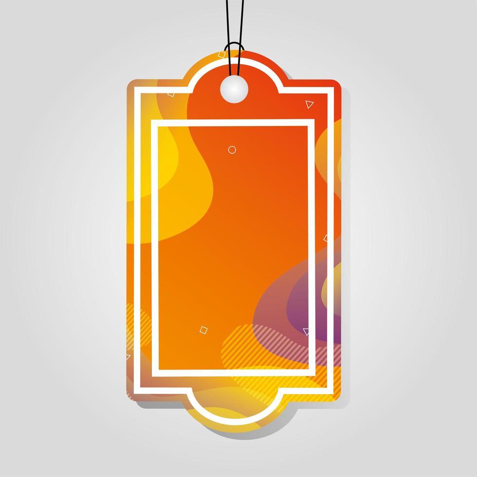 etichetta commerciale arancione con colori vivaci vettore