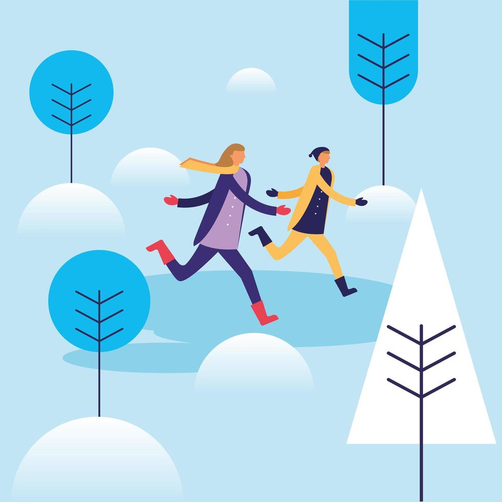 donna e uomo che corre nel disegno vettoriale neve