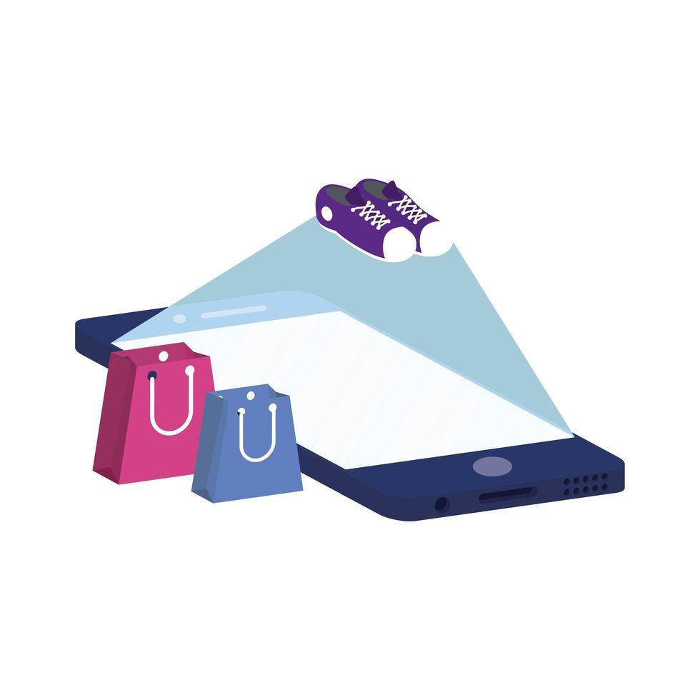 e-commerce online aziendale con smartphone vettore