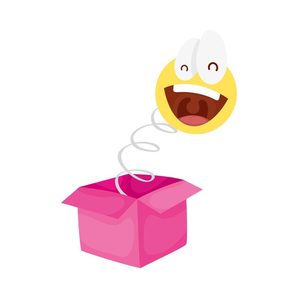 faccina pazza emoji nella scatola a sorpresa fools day vettore