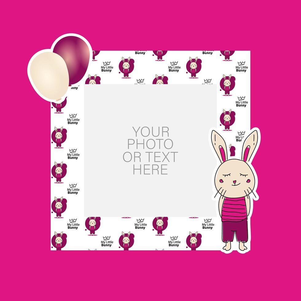 cornice per foto con coniglietto cartone animato e palloncini design vettore
