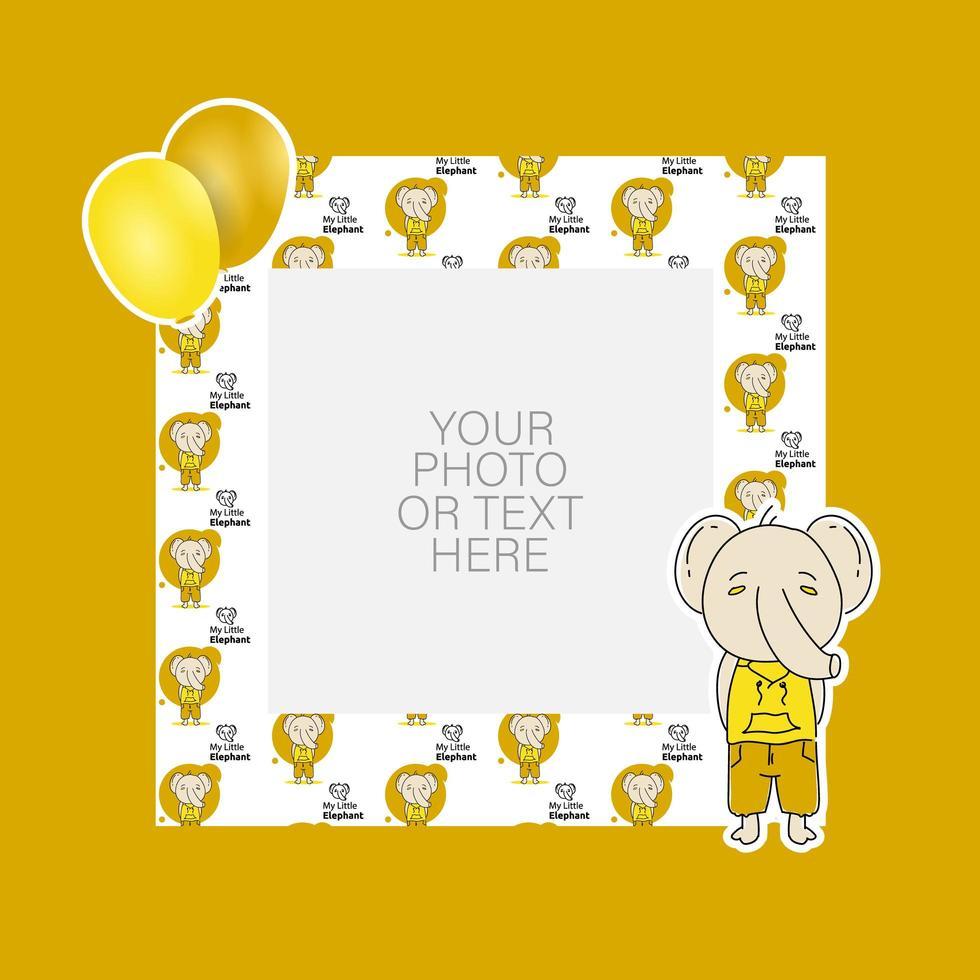 cornice per foto con disegno di elefante e palloncini dei cartoni animati vettore