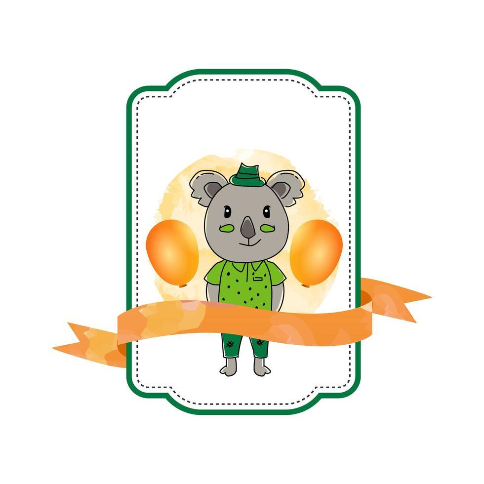 etichetta koala animale bambino con nastro vettore