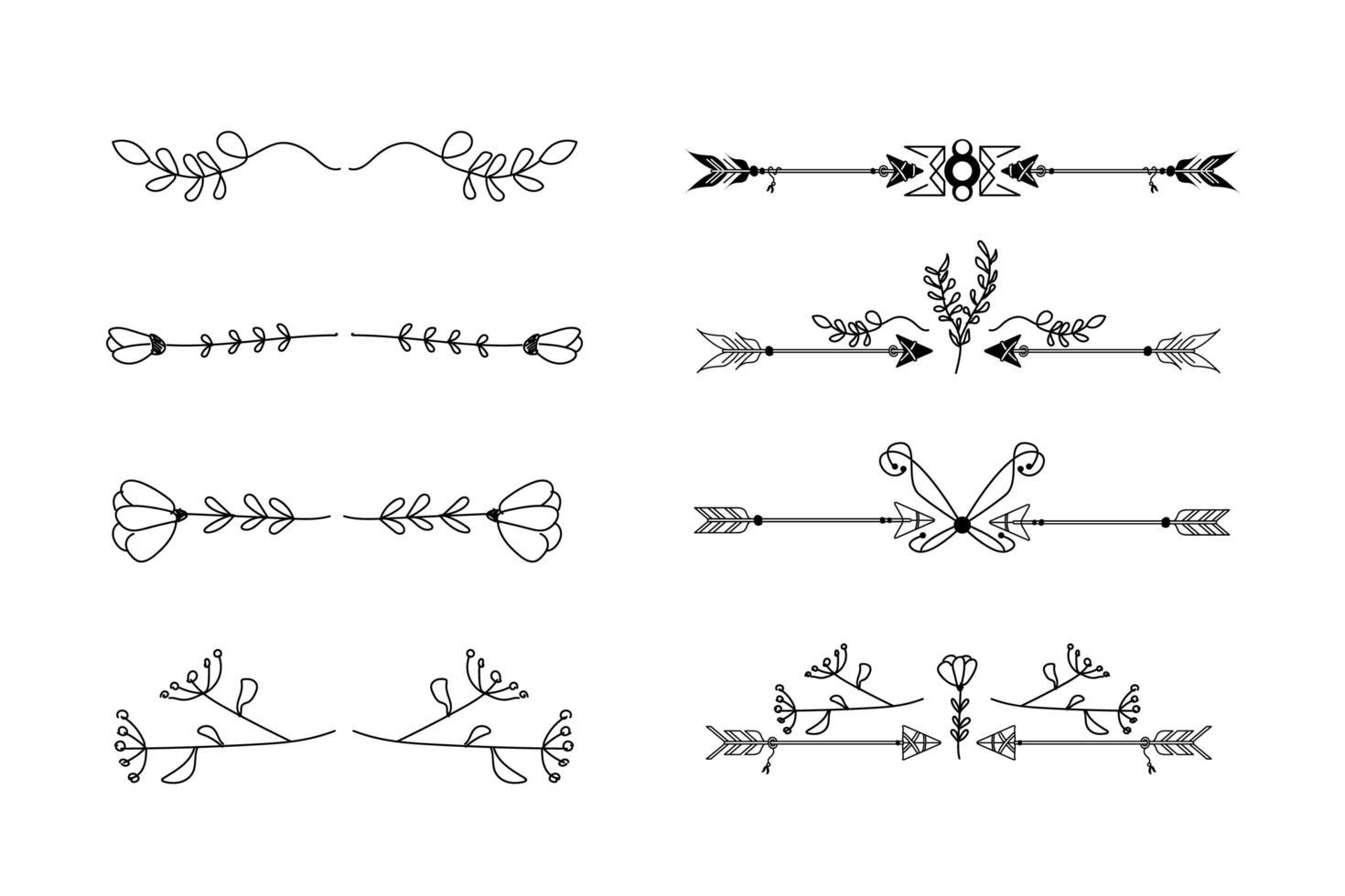 collezione di divisori ornamento disegnato a mano vettore
