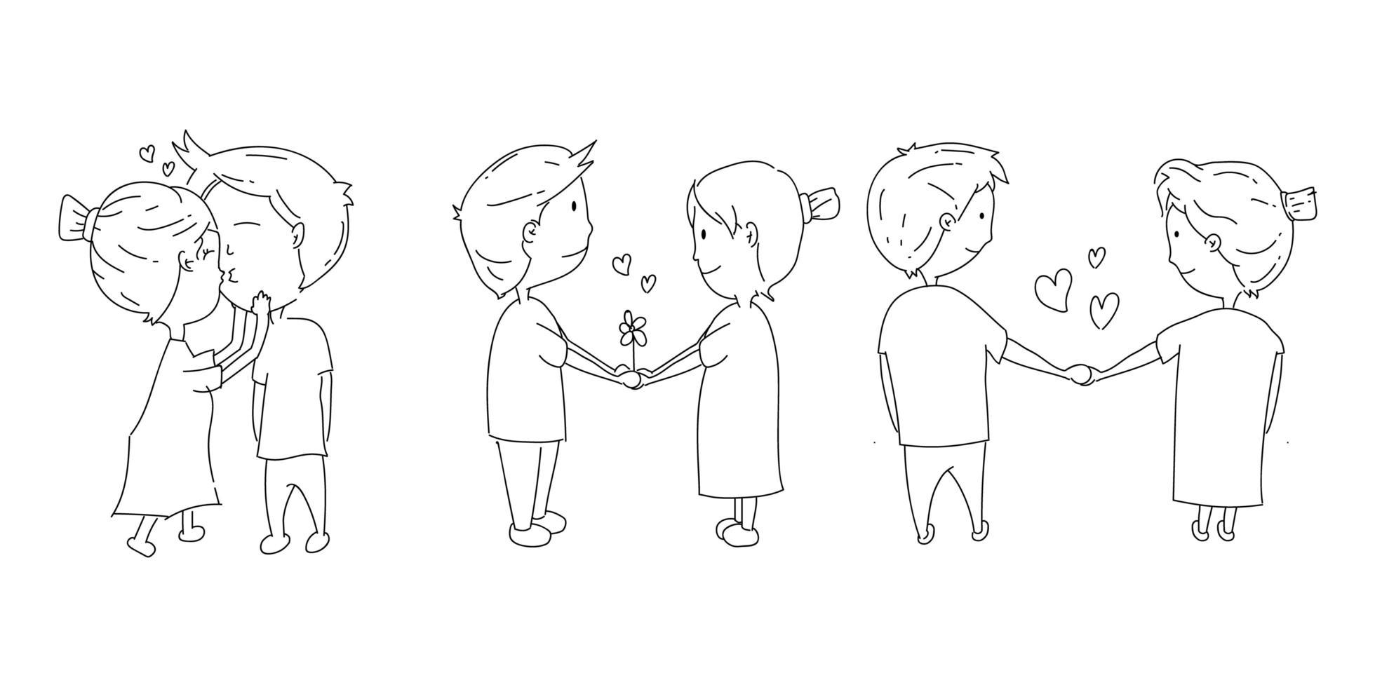 doodle coppie illustrazione set vettore