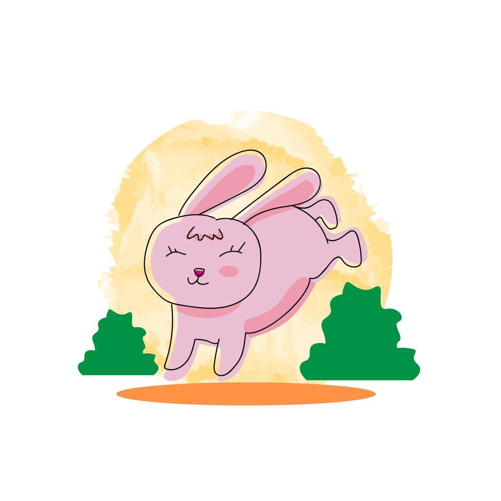 coniglietto carino doodle che salta vettore