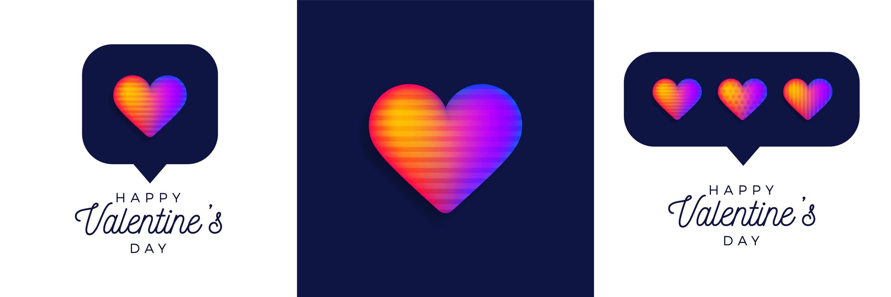 set di san valentino cuore arcobaleno vettore