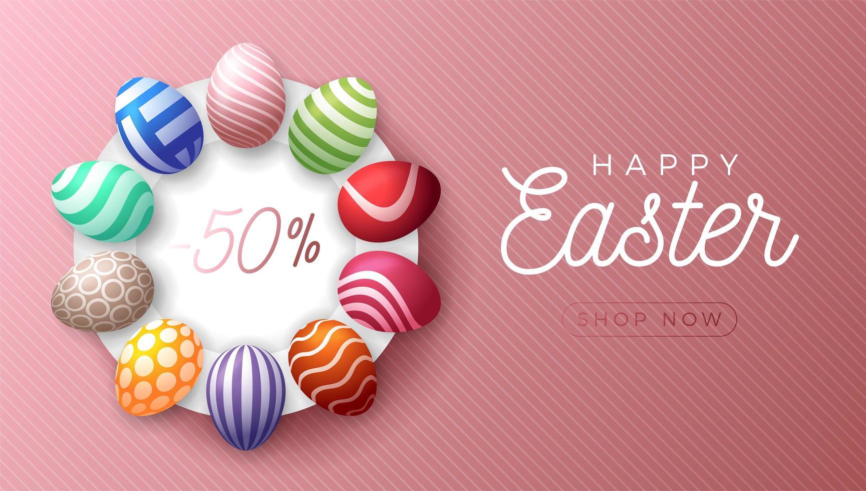 banner di vendita orizzontale uovo di Pasqua vettore