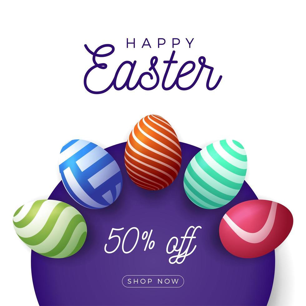 banner di vendita di uova di Pasqua vettore