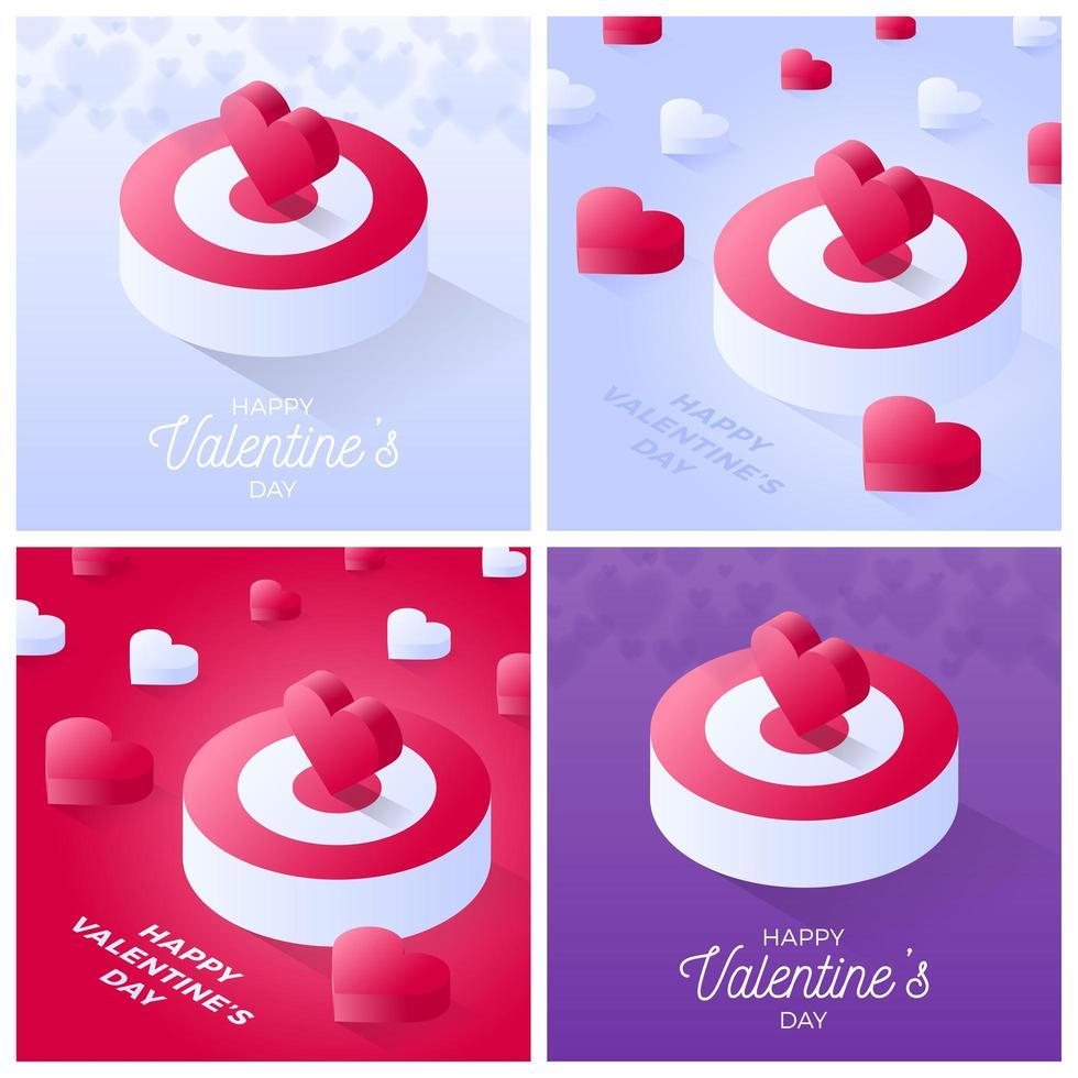 set di carte di San Valentino vettore