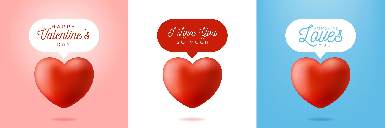 San Valentino realistico set di messaggi di cuore rosso vettore