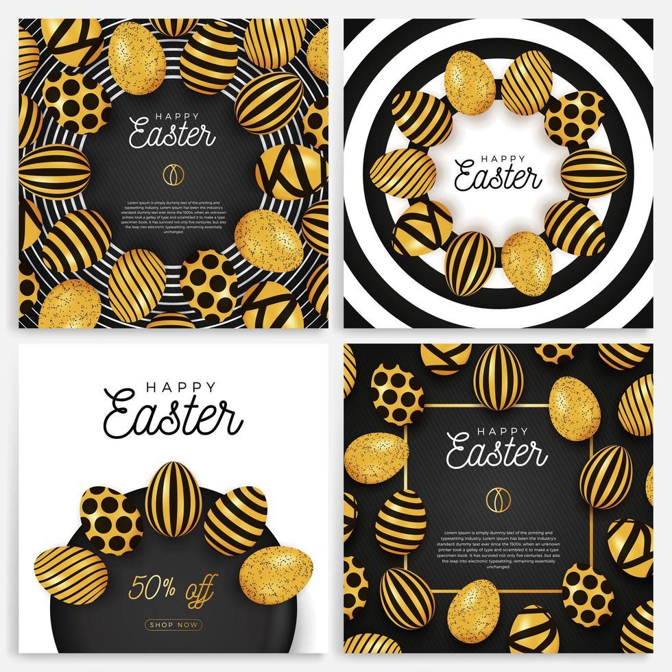 set di banner di uova di Pasqua vettore