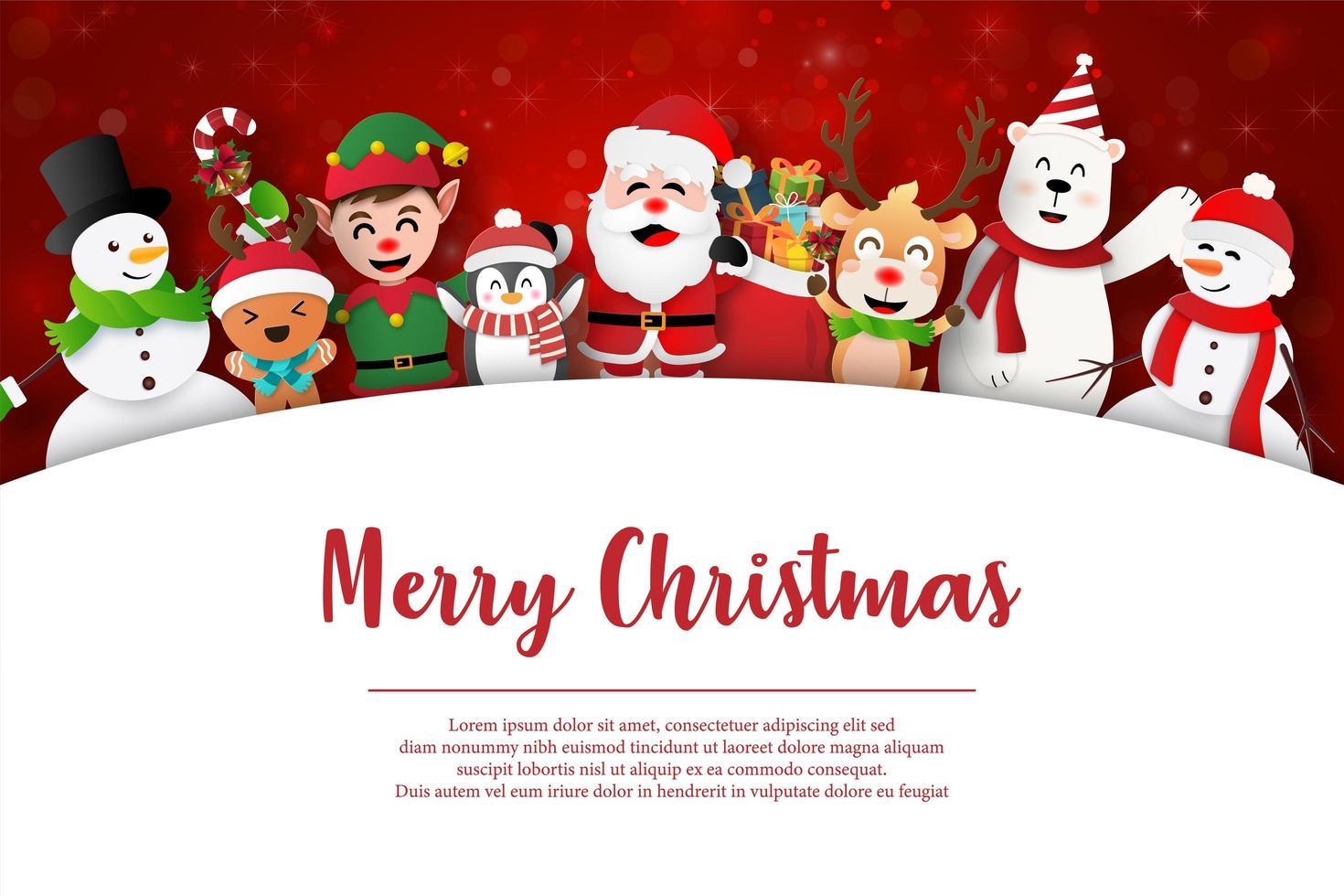 buon natale e felice anno nuovo, babbo natale e amici sulla cartolina di natale vettore