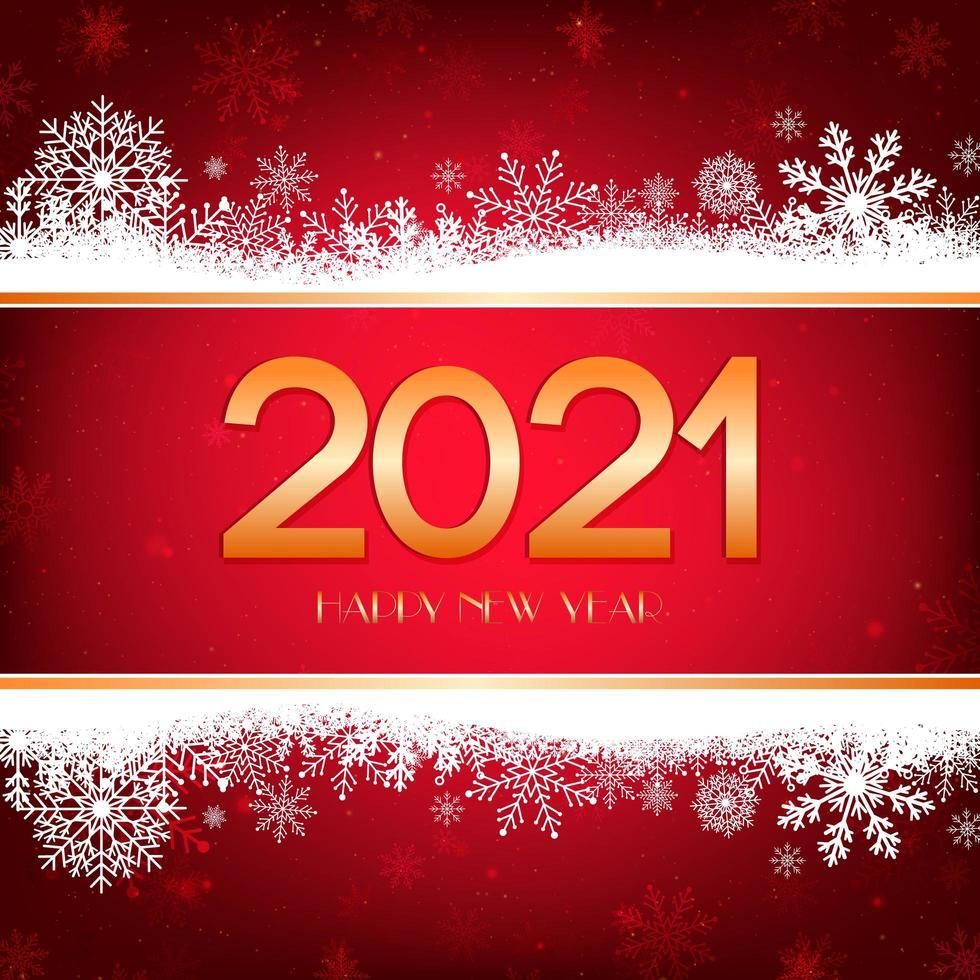 sfondo rosso felice anno nuovo con bordo bianco fiocchi di neve e tipografia oro. vettore