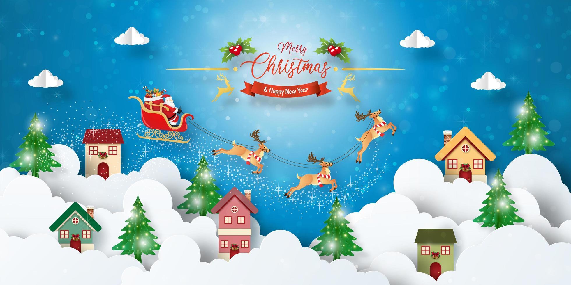 Banner di cartolina di Natale di Babbo Natale che sorvola la città vettore